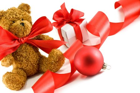 teddy bear and gift isolated  photo