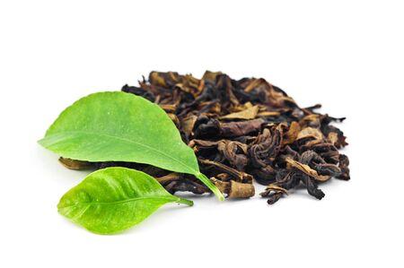 pekoe: green tea isolated on white Stock Photo