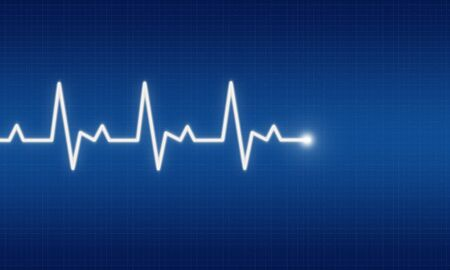 illustration of EKG trace on blue background Stock Illustration - 6227678
