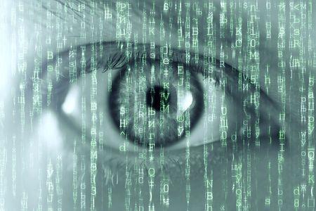 man eye and matrix texture Stock Photo