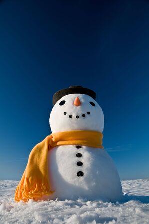 Schneemann in Himmel schauen und Frühjahr warten  Standard-Bild