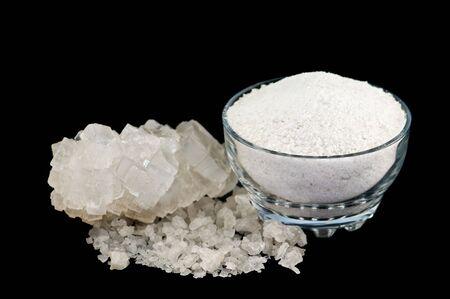 crystallization: salt isolated on black background