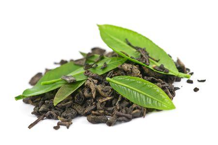 Grüner Tee mit Leaf isolated on white background