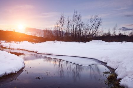 winter landscape with river and trees Stock Photo - 6606448