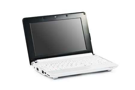 ibook: white netbook isolated on white