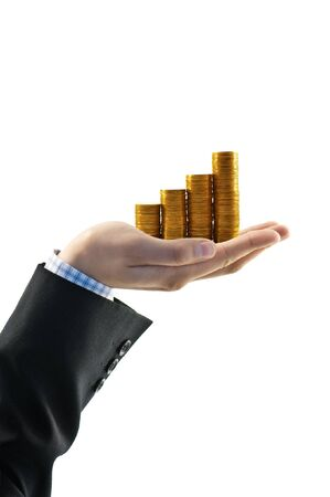 gold coin in businessman hand isolated photo