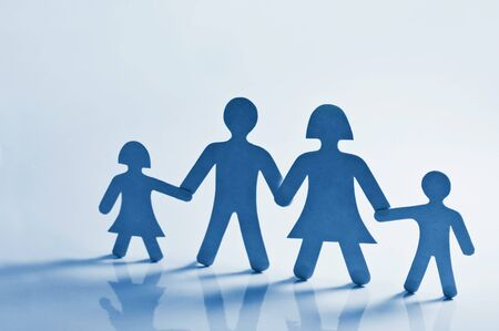 hands out: paper family on blue background