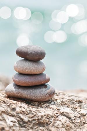stone on sea shore closeup Stock Photo