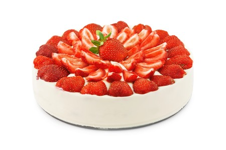 strawberries and cream: strawberry cake isolated on white