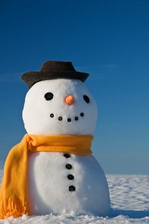 Schneemann in Himmel schauen und Frühjahr warten