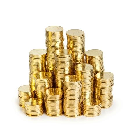 Goldmünze Stack isoliert auf weiss Standard-Bild