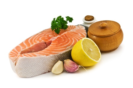 raw salmon and spices isolated photo