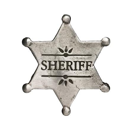 sheriff star isolated on white Stock Photo