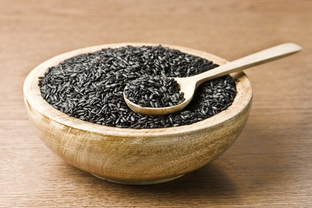 black rice: black china rice in wood plate