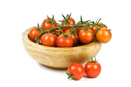 fresh tomato cherry isolated on white photo