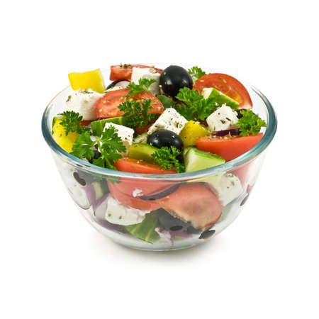salad in bowl isolated on white photo