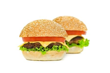 two hamburger isolated on white photo