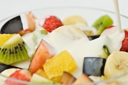 fruit salat with yogurt closeup photo