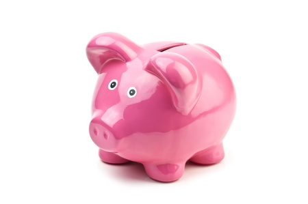 pink pig money box isolated photo