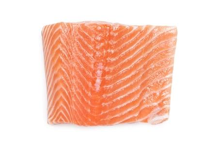 raw salmon filet isolated on white photo