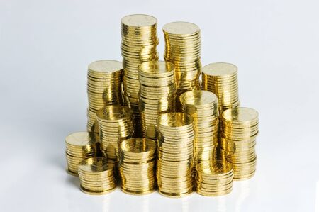 gold coin stack close up photo