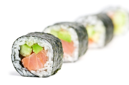 sushi in row isolated on white photo