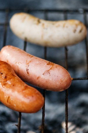 the grilled sausage close up photo