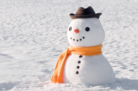 snowman: cute snowman on snowy field