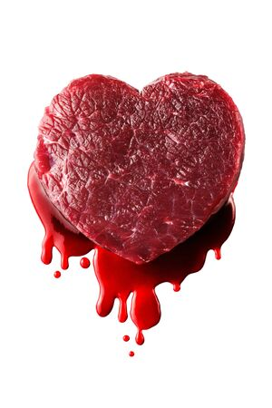 beef heart with blood isolated photo