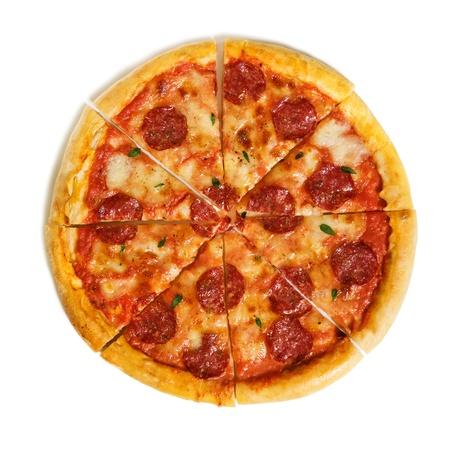 Salami-Pizza isoliert auf weiß Lizenzfreie Bilder