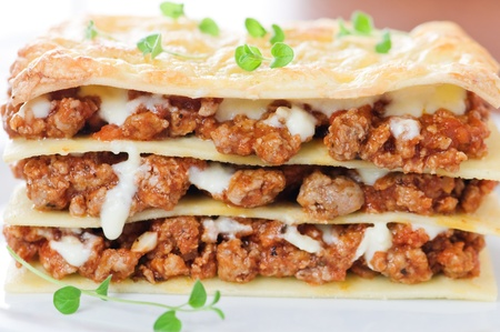 piece of lasagna on white plate photo