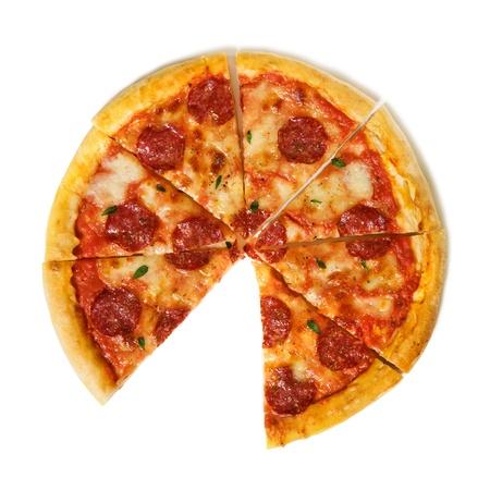 salami: pizza de salame aislado en blanco Foto de archivo