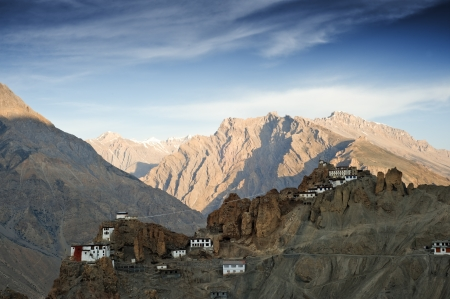 tibetan house: dhankar monastery in himalayas mountain