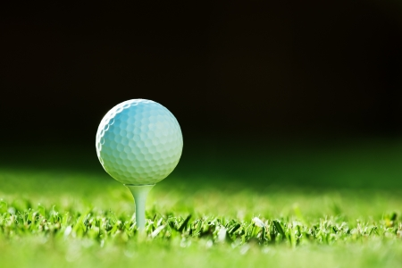 tee: golf ball on green grass Stock Photo