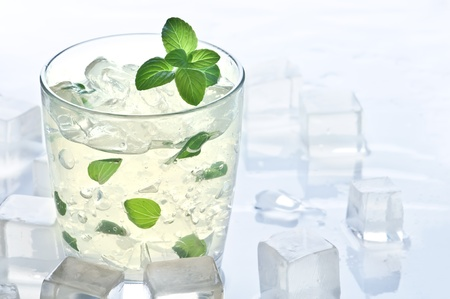 mint and ice drink closeup Stock Photo