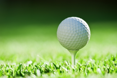 golf tee: golf ball on green grass Stock Photo