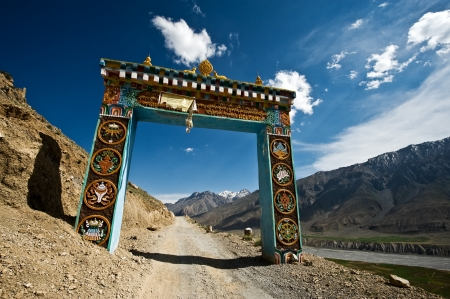 ki: Gates to Ki monastery in himalayas mountain