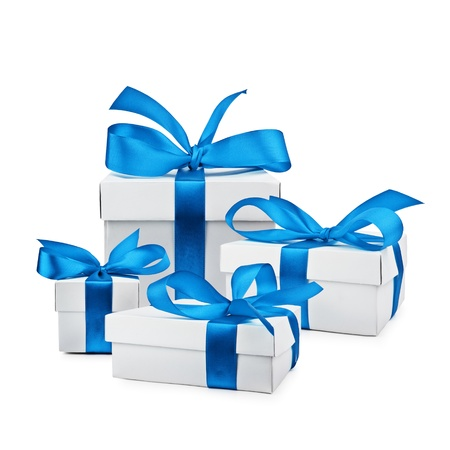 ribbon box: set of gift box isolated Stock Photo