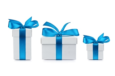blue box: set of gift box isolated Stock Photo