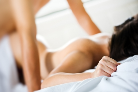 woman sex: couple have a sex on bed Stock Photo