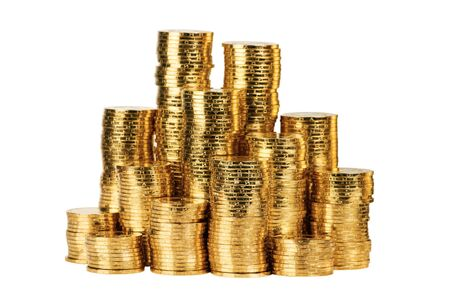 euro coins: gold coin stack isolated on white Stock Photo
