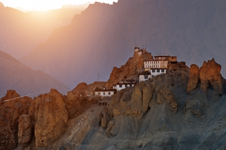 himalayas: dhankar monastery in himalayas mountain