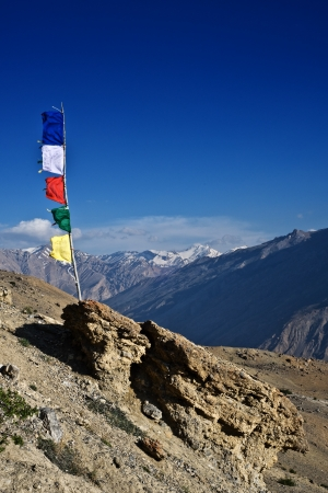 bodnath: tibetan flags with mantra on sky background Stock Photo