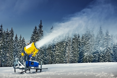 snow cannon in winter mountain