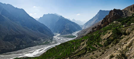 himalayas: himalayas mountain and river in summer time
