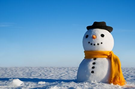 snowman look in sky and wait spring Stock Photo - 18022889