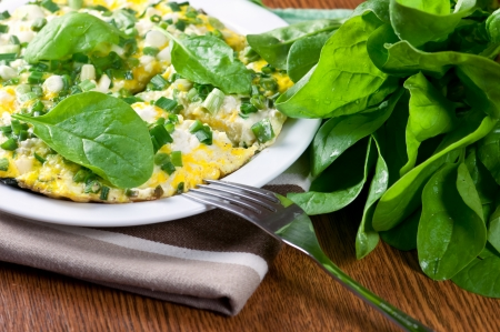 morning breakfast with spinach omelet