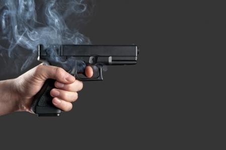 glock: handgun in men hand closeup