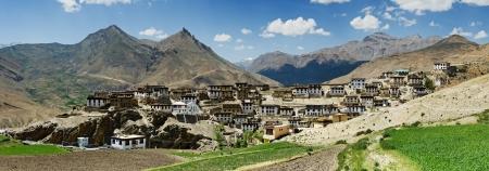 tibetan house: Kibber village in himalayas mountain Stock Photo