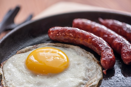cooked sausage: breakfast with eggs and sausage